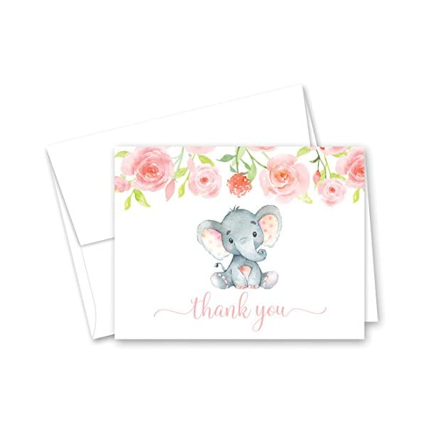50 Pink Watercolor Floral Elephant Baby Shower Thank You Cards + Envelopes