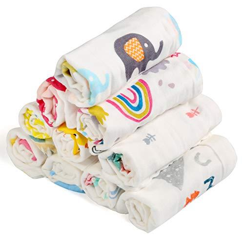 BelleStyle Muselinas Organicas Bebé, Toallas de Baño para Recién Nacidos Bebé de Muselinas de Algodón Pequeñas Toallas de Lavabo Extra Suaves para Bebé 10 Piezas