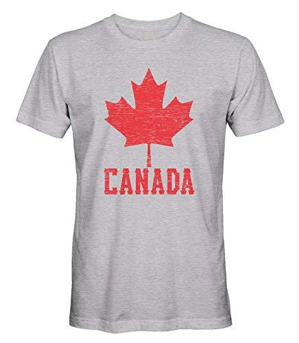 Men's Canadian Flag Canada Maple Leaf T-Shirt (Light Gray, Large)