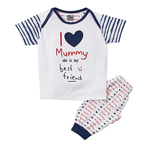 Mini Taurus Boy's Cotton I Love Mummy Print T-Shirt and Bottom Set in Multi Colour for Ages 12-18 Months