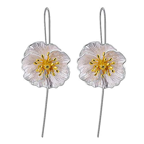 Gift for Christmas Lotus Fun 925 Sterling Silver Flower Drop Earrings Blooming Poppies Dangle Earring for Women and Girls, Handmade Unique Jewelry
