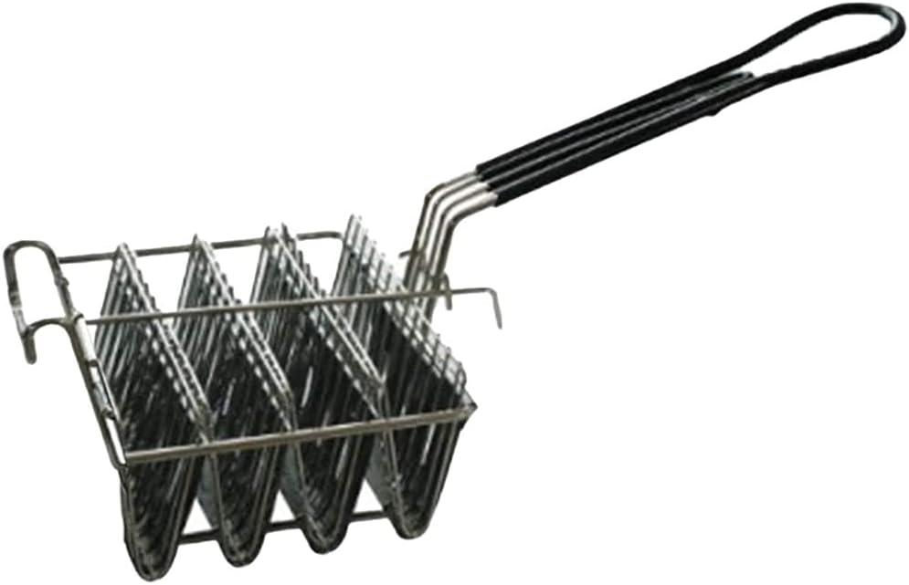 cherrypop Cesta de freidora de taco, freidora de concha de taco, capacidad para 4 cáscaras de freidora de taco, cesta con mango de agarre soporte de taco
