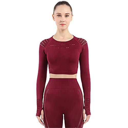 SotRong Damenshirt, nahtloses Strickshirt mit Daumenloch, für Fitness, Laufen Gr. Large, weinrot