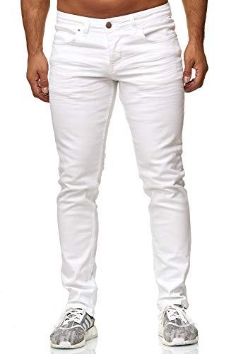 Elara Jeans Uomo Pantaloni Slim Fit Denim Stretch Chunkyrayan Bianco 16533-Weiss-34W / 30L