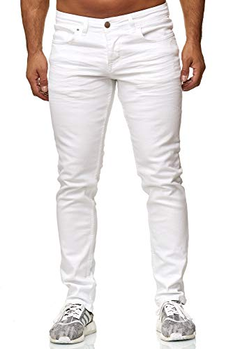 Elara Herren Jeans Slim Fit Hose Denim Stretch Chunkyrayan 16533-Weiss-34W / 34L