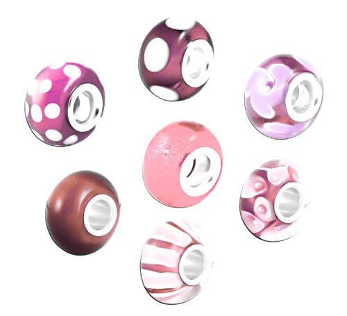Akki Murano Glas Charms Beads für Armband Kette 8er Set Angebot Perle Blumenmuster Kompatibel mit Pandora Starter muranoglas schwarz weiß pink grün türkis Pink