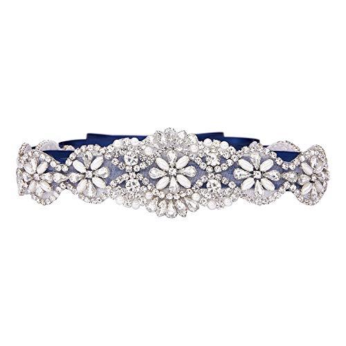 SWEETV Correas Cinturón de Diamantes Cinturones de Perla Para las Partido de la Tarde Boda Nupcial Mujeres Niñas, Azul