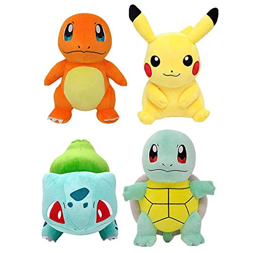 Pọkémọn Plush Toys Pack 4 Pọkémọn Stuffed Animals - Pịkáchụ, Charmander, Squirtle & Bulbasaur Plush