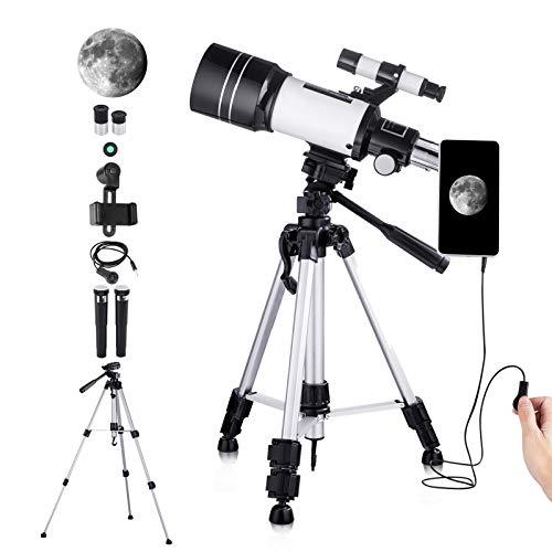 Telescopio Astronomico per Bambini Principianti Adulti, Telescopio Rifrattore HD da 70 mm per Astronomia, con Adattatore Telefonico, Treppiede Regolabile, Fibroscopio, Filtro Lunare