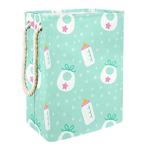 EZIOLY Cesta de lavandería con patrón de botella de leche plegable con asas soportes desmontables, resistente al agua para la ropa, juguetes, organización en la sala de lavandería, dormitorio