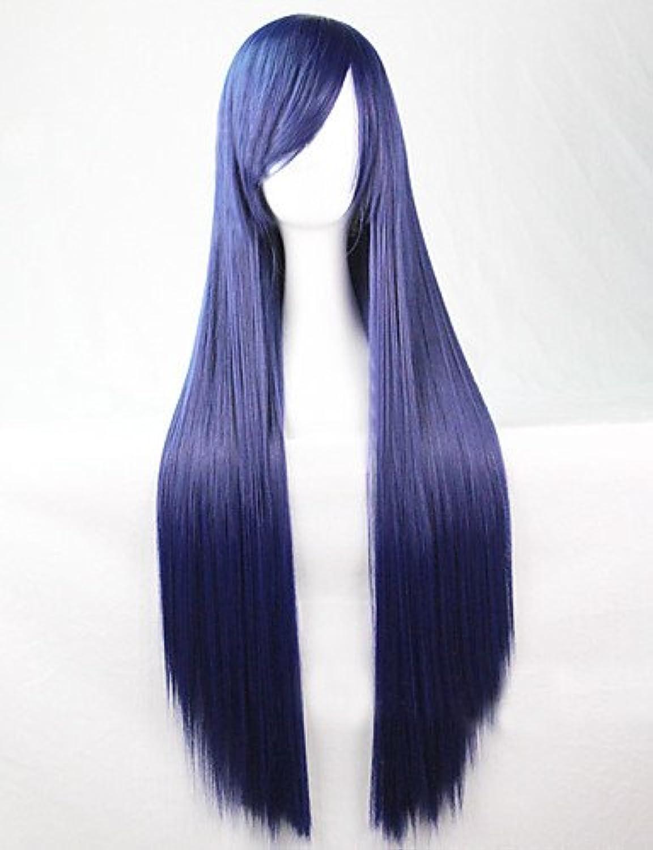 Mode Perücken WIGSTYLE cosplay globale heiße Modelle synthetische Perücke 80cm Hochtemperatur glattes Haar dunkelblauen langen glatten Haaren B0761Y4YJ6 Helle Farben      Zarte