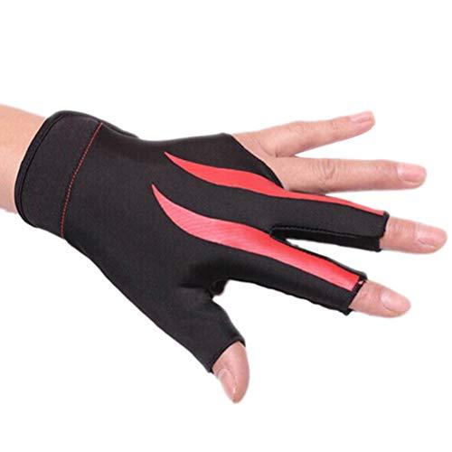 Vosarea Billard 3-Finger-Handschuh Snooker Pool Cue Shooter Handschuh dehnbar Half Finger für die Linke Hand (rot)