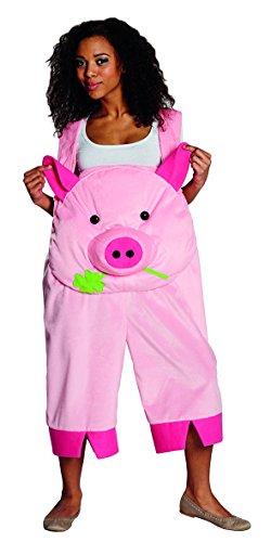 """Kostüm \""""Latzhose Schwein\"""", rosa Latzhose mit großem Schweinegesicht, in Gr. S-XXL, für Karneval Fasching (X-Large)"""