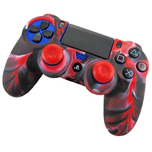 FeiliandaJJ PS4 Controller Gehäuse Spiel Griff Camouflage Kieselgel Tasche für Playstation4 Controller (rot)