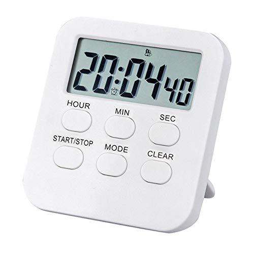 XKMY 1 reloj digital digital con alarma fuerte multifunción LCD de 24 horas, temporizador de plástico con temporizador de cuenta regresiva, recordatorio de cocina electrónico (color: blanco)