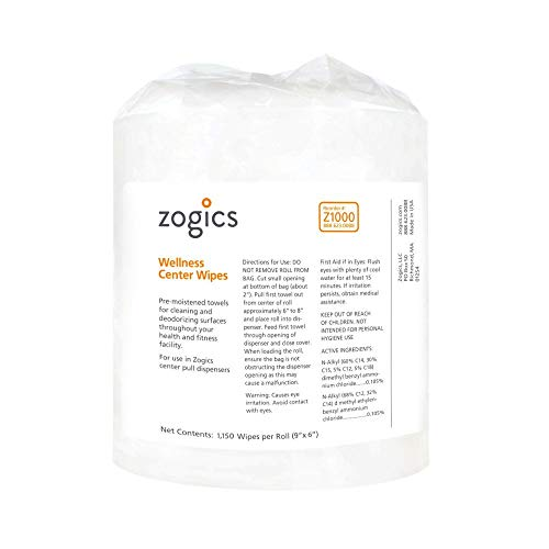 Zogics Wellness Center Cleaning Wipes, Heavy Duty Gym Equipment and Surface Wipes (4 Rolls, 4,600 Wipes)
