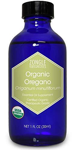 Zongle USDA Certified Organic Oregano Essential Oil, Safe to Ingest, Origanum Minutiflorum, 1 OZ