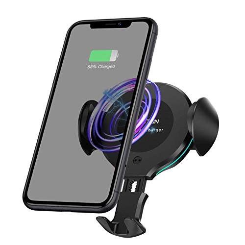 OMOTON Wireless Car Charger Mount - 10W/7.5W Qi Fast Charging Auto-Clamping Car Mount, Dashboard Air Vent Phone Holder with RGB LED Lighting Ring, Compatible with iPhone, Samsung, Google, Nokia