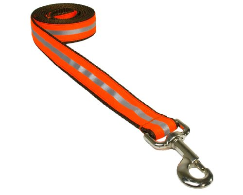 Large Reflective Orange Dog Leash: 1' Wide, 6ft Length - Made in USA.