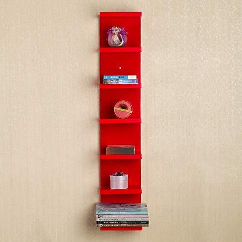 AG Casa Camera da Letto Librerie Librerie 6 Tiers Parete Mobile ad Angolo Mensola a Muro Scaffalatura in Legno Scaffale Vetrina Organizzatore, Studente Dormitorio Letto Libreria,Rosso