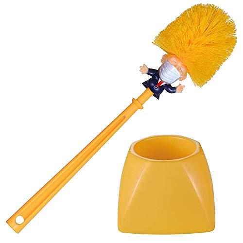 Mobi Lock Donald Trump mit Gesichtsmaske Toilettenbürste - Neuheit - Klobürste für Haushalt, Bad - Lustige Präsidenten-Bürste mit Halter & Ständer - Witzige Politik-Scherzartikel, Gag-Geschenke