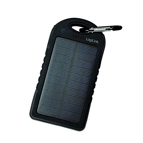 LogiLink PA0132 - Mobile Powerbank (Zusatzakku) 5000 mAh, 2x USB, Schwarz - Solar