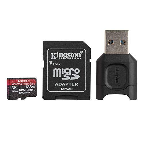 Kingston MLPMR2/128GB Schede microSD, 128GB microSDXC React Plus SDCR2, Con Adattatore SD e MLPM Lettori Media