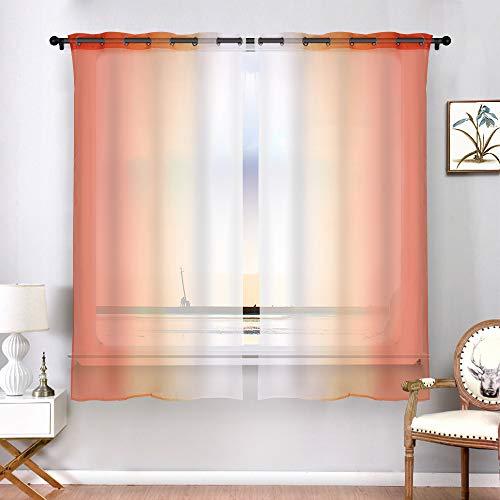 cortinas naranjas 140x175