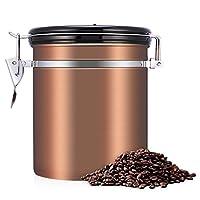 Boîte à Café Hermétique, Récipient de Stockage étanche à l'air en acier inoxydable Pot de stockage des aliments avec suivi de la date pour les aliments de cuisine Sucre Thé Café en grains