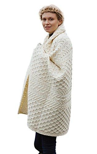 100% Merino-Wolldecke mit Wabenmuster-Design, weiß