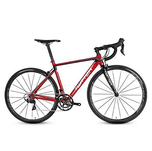 Gaoyanhang 46/48/50/52 Centimetri di Alluminio della Bici della Strada del Carbonio Forcella Shimano 18 velocità Entry Level Road Racing (Color : Red, Size : 52cm)