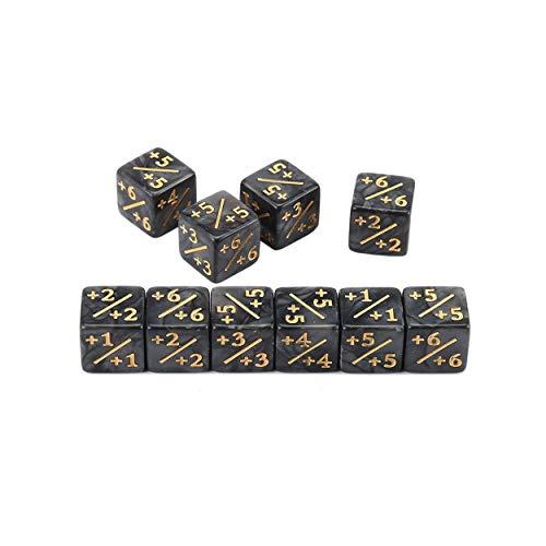 Tsubaya 10x Würfelzähler 5 Positiv + 1 / + 1 & 5 Negativ -1 / -1 Für Magie Das Sammeltischspiel Lustige Würfel Hohe Qualität - Schwarz