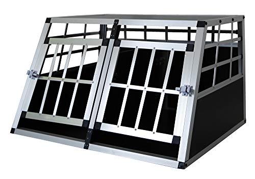 Petigi Hundebox Hunde Alu Auto Tranportbox Groß XL XXL Aluminium Kofferraum Transport Box für Hund Dog Autobox 4 Größen Haustier Reisen Van Kombi PKW Käfig, Größe:S - Doppeltür