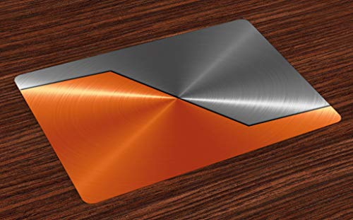 ABAKUHAUS Orange and Grey Place Mats Set of 4, 3D Style Machinery Structure Image Detailed Vivid Modern Contrast Colors, Washable Fabric Placemats for Dining Room Kitchen Table Decor, Orange Grey