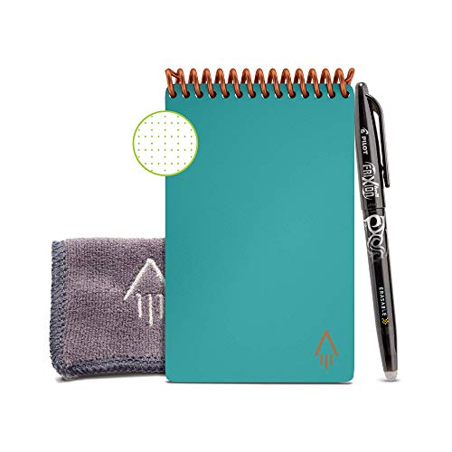 "Rocketbook Smart Reusable Notebook - Dotted Grid Eco-Friendly Notebook with 1 Pilot Frixion Pen & 1 Microfiber Cloth Included - Neptune Teal Cover, Mini Size (3.5"" x 5.5"