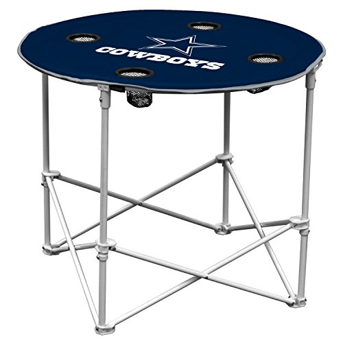 NFL Logo Brands Dallas Cowboys Collapsible Round Table with 4 Cup Holders and Carry Bag, Team Color