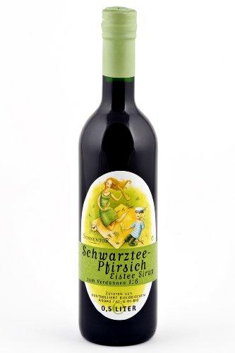 Sonnentor Schwarztee-Pfirsich Eistee-Sirup, 1er Pack (1 x 500 ml) - Bio