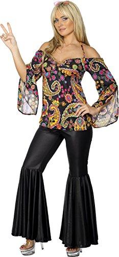 Smiffys, Damen Hippie Kostüm, Oberteil und Schlaghose, L (44-46 EU), Schwarz