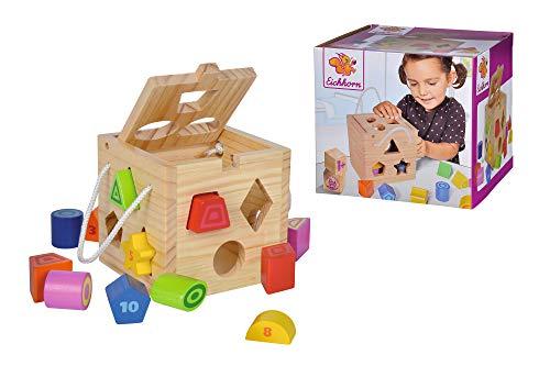 Eichhorn Steckwürfel aus Holz, Kiefernholz, Motorikwürfel mit 12 Steckbausteinen, Holzspielzeug für Kinder ab 12 Monaten, Größe: 14,5x14,5x14,5 cm