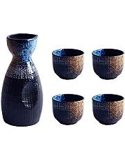 BESTonZON 1 Juego de Taza de Sake Japonés Juego de Olla para Servir Tazas de Cerámica para Servir Juego de Sake de Porcelana Tradicional Japonesa Regalos