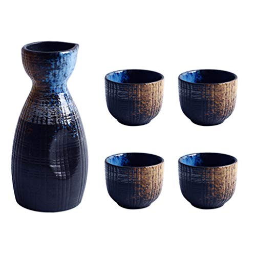 BESTonZON 1 set di tazze da sake giapponesi set di pentole per servire, tazze in ceramica per servire set di sake in porcellana tradizionale giapponese
