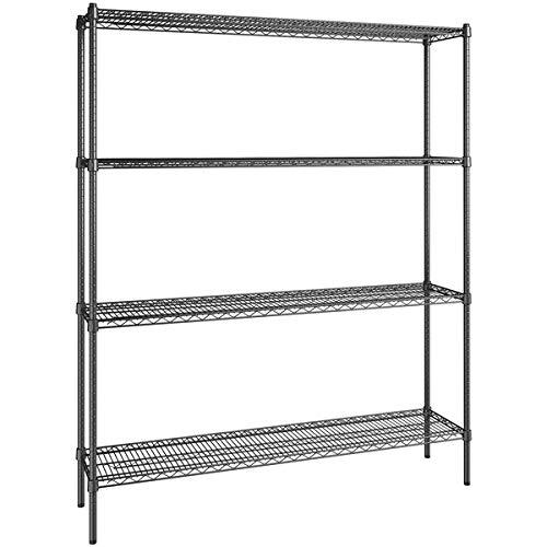 14 inch x 60 inch Certified Black Epoxy 4 Shelf Kit with 74 inch Posts. Storage Shelf. Garage Storage Shelves. Shelving Units and Storage. Food Storage Shelf. Storage Rack. Bakers Racks