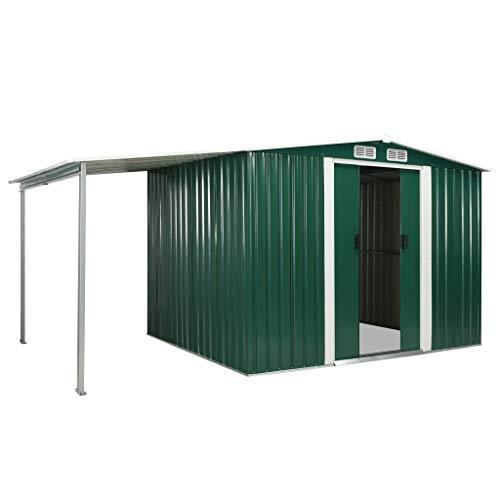 Festnight Gerätehaus mit Schiebetüren Geräteschuppen mit 4 Lüftungsklappen Garten Schuppen Gartenhaus Grün 386x205x178 cm Stahl