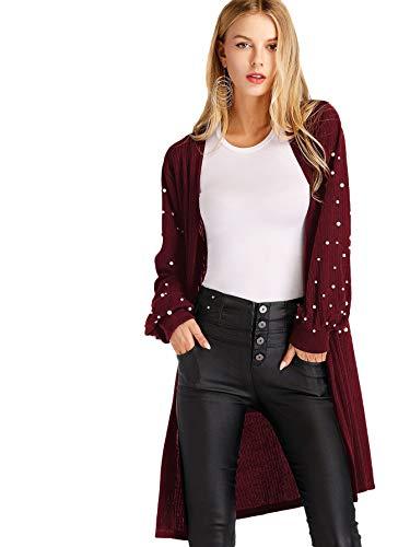 Floerns Women's Open Front Pearl Beading Lantern Sleeve Sweater Long Cardigan Burgundy L