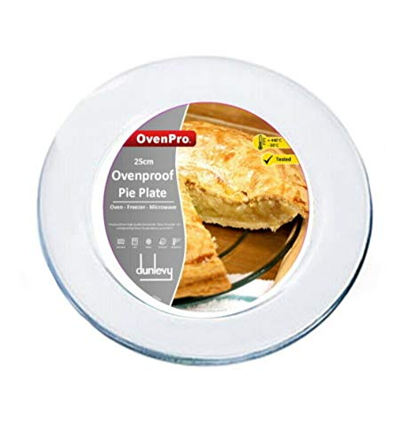 Ovenproof Plate Glass Pie Plate for Baking 25cm Transparent Glass Pie Tart Flan Baking Plate Oven to Tableware Plate Dish (1 Piece)