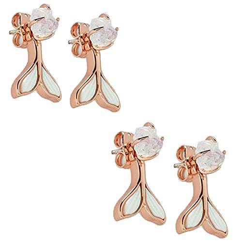 YZDST 2 Pairs Sterling Silver Genuine Fin Ear Jacket Openwork Fishtail Earrings Retro Girl Gem-Encrusted Rear-Mounted Fishtail Stud Earrings for Women Girl