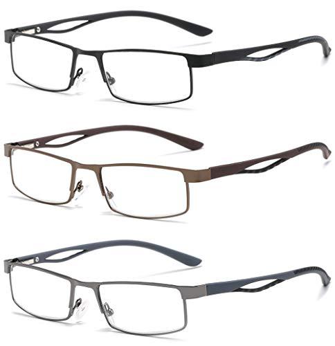 VEVESMUNDO® Lesebrillen Herren Damen Metall Klassische Federscharnier Vollrandbrille Lesehilfe Augenoptik Brille Schwarz Braun Grau 1.0 1.5 2.0 2.5 3.0 3.5 4.0 (3 Farben Set(Schwarz+Braun+Grau), 1.5)