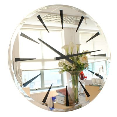 Roco Verre Horloge Mirroir Bisauté Chevron (65cm Dia )