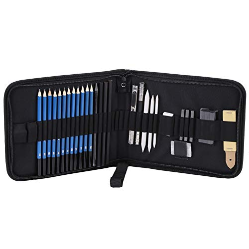 HaiQianXin 33 stks H&B schetsen potloden tekenen en schetsen Kit Set met gummetjes houtskool Stick slijper