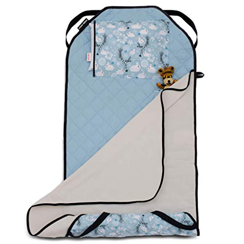 Urban Infant Tot Cot All-in-One Modern Preschool/Daycare Nap Mat with Washable Pillow and Elastic Straps - Bunnies